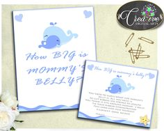 Light Blue Baby Baby Shower Boy Blue Festivity Guess Belly Size HOW BIG IS Mommys Belly, Party Décor, Printables - wbl01 #babyshowergames #babyshower
