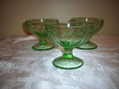 Vintage Small Green Depression Glass Sherbert Bowls