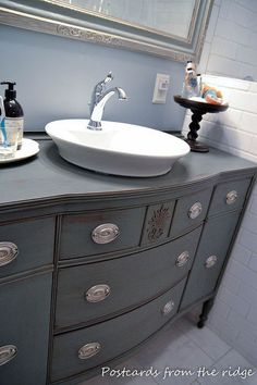 DIY Bathroom Repurposing our dining room buffet into a bathroom vanity - Why be normal? Dresser Vanity Bathroom, Vanity Sink, Bathroom Furniture, Painted Furniture, Bathroom Vanities, Vanity Redo, Bathroom Wallpaper, Vanity Ideas, Furniture Storage