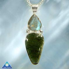 Magical Labradorite & Moldavite Silver by ArkadianCollection