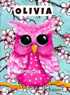 Pink cherry blossoms OWL art baby nursery print pink blue whimsical baby girl bedroom owl art. $10.00, via Etsy.