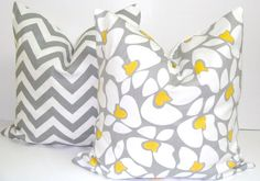 Gray Yellow Pillow SETS18x18 inch Decorator by ElemenOPillows, $32.00