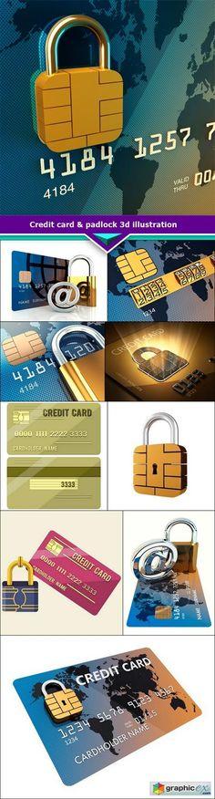 Credit card & padlock 3d illustration 10x JPEG  stock images