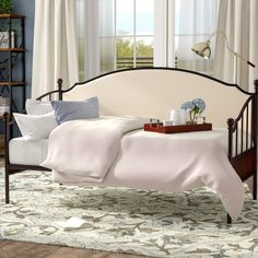 Three Posts Dolder Twin Daybed & Reviews | Wayfair Full Daybed With Trundle, Trundle Mattress, Metal Daybed, Upholstered Daybed, Guest Bed, Bed Sizes, Upholstery, Furniture, Daybeds