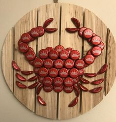 Best 12 Budweiser beer cap crab on a round wood plaque. Crab is handmade. Check out my other listings if you're looking for a different designs or a crab made out of a specific beer. Beer Cap Art, Beer Bottle Caps, Beer Caps, Seashell Crafts, Beach Crafts, Diy And Crafts, Beer Cap Crafts, Wine Cork Crafts, Beer Bottle Top Crafts