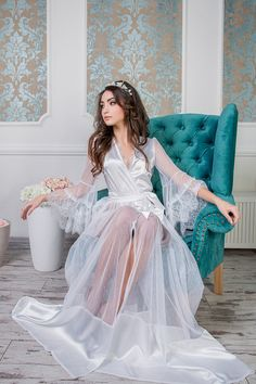 Items similar to Sale bridal robe Style wedding robe, bridal lingerie, womens robe, honeymoon lingerie on Etsy Honeymoon Lingerie, Bridal Boudoir, Wedding Lingerie, Wedding Underwear, Wedding Kimono, Wedding Dresses, Babydoll, Bridal Robes, White Bridal