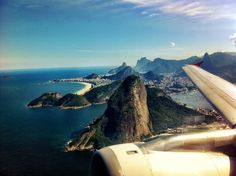 Sugar Loaf mountain from an airplane window.