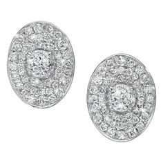 Ivanka Trump 'Signature' Oval Pave Diamond Stud Earrings ($3,200) ❤ liked on Polyvore