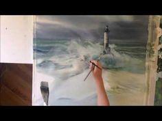 YouTube Watercolor Video, Watercolour Tutorials, Watercolor Techniques, Drawing Techniques, Watercolour Painting, Painting & Drawing, Watercolors, Sea State, Space Illustration