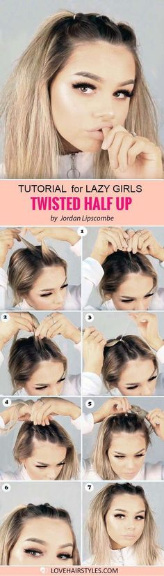 The Lazy Girls Guide: 5 Cute Easy Hairstyles for Medium Hair ★ See more: http://lovehairstyles.com/easy-hairstyles-for-medium-hair-guide/