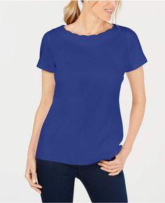64c5e099f8820 Karen Scott Petite Cotton Scalloped-Neck Top Karen Scott, Classic T Shirts,  Petite