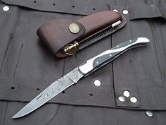 "Amazon.com : DKC-777 TWIN PEAKS Laguiole Damascus Steel Folding Pocket Knife 4 oz 8.5"" long 3.5"" Blade DKC KNIVES : Sports & Outdoors"