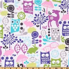 Michael Miller Retro Forest Life in Orchid - MUST HAVE THIS for... something pretty!