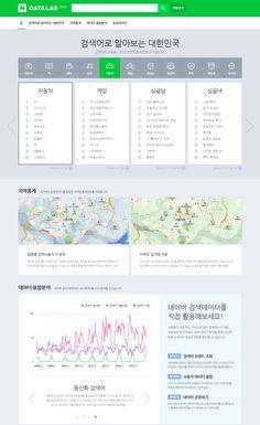 네이버, 빅데이터 포털 'DATA LAB' 베타 버전 출시 Web Layout, Layout Design, Web Design, Graphic Design, Ui Web, Ui Elements, Typography, Hana, Editorial