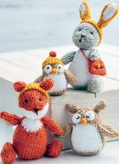Free Knitting Pattern for Woodland Toys - Four forest animals and accessories in DK yarn. Ferdie Fox: 12.5cm tall. Oggie Owlet: 7.5cm tall (incl. hat). Belinda Bunny: 15cm tall. Enid Owl: 9cm. Designed by Sachiyo Ishii. Click the link below to go to the Let's Knit website and register there to download.
