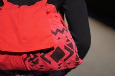 Red Denim Backpack with Aztec print by LauraJaneFashion on Etsy