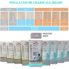 WEALL COLOR CHARM PERMANENT LIQUID HAIR TONER #ALL COLORS ,BOWL#Select your Item Toning Blonde Hair, Toner For Blonde Hair, Blonde Hair At Home, White Blonde Hair, Best Blonde Toner, Wella Toner Chart, Wella Hair Toner, Wella Hair Color Chart, Toner For Orange Hair