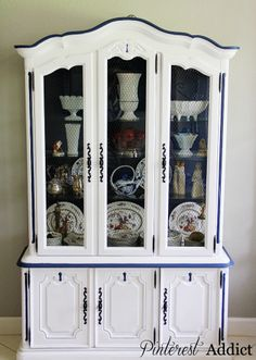 I want to paint the china cabinet and dining table like this- distressed  Painted china cabinet