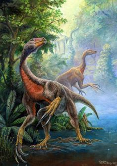 Beipiaosaurus is one of those strange dinosaurs in the therizinosaur family: long-clawed, pot-bellied, two-legged herbivorous theropod. Beipiaosaurus appears to have been slightly brainier than its cousins (to judge by its slightly larger skull), & it's the only therizinosaur proven to have feathers, though it's highly probable that other genera did as well. About 7' long & 75 lbs. Early Cretaceous 125 Ma