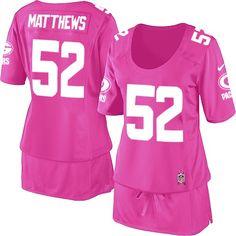 Women's Nike Green Bay Packers #52 Clay Matthews Elite Pink Breast Cancer Awareness Jersey $109.99