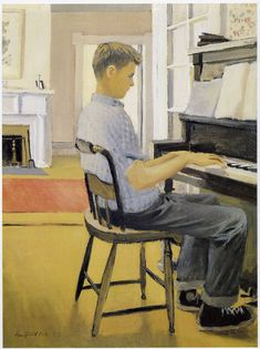 Fairfield Porter Lawrence at the the piano, New Britain Museum of American Art Fairfield Porter, Gustav Klimt, Pablo Picasso, High School Art Projects, New Britain, Grain Of Sand, Portraits, Music Pictures, Classical Music