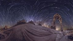 360° panoramic timelapse by @vbradyphoto. Made with 4 cameras with fisheye lenses taking consecutive 1 min-long exposures for ~3 hours. (animated)