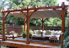 I want a screened patio this size. Outdoor Living Today - 12 x 16 Breeze Pergola with Retractable Canopy - Default Title - Outdoor Living - Yard Outlet Cedar Pergola, Wooden Pergola, Outdoor Pergola, Outdoor Rooms, Backyard Patio, Backyard Landscaping, Outdoor Living, Canopy Outdoor, Pergola Lighting