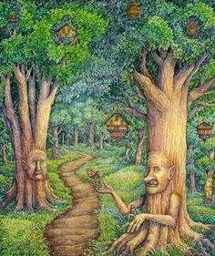 Midsummer Morning by cgb30.deviantart.com on @DeviantArt Magic Forest, Forest Fairy, Dark Fantasy, Fantasy Art, Elves And Fairies, Old Trees, Walk In The Woods, Faeries, Bird Houses