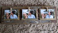 ever changing frame. barn wood and baby clothes pins. Diy Photo, Photo Craft, Photo Ideas, Cute Crafts, Crafts To Do, Gift Crafts, Wood Picture Frames, Picture Boards, Wood Frames