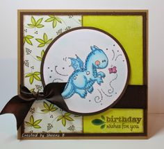 """KanataNewf - Time Well Wasted: A friendly dragon with birthday wishes * patterned paper: Basic Grey """"Marjolaine"""" (possibly my favourite paper collection ever) * stamped image: Whimsy Stamps """"Dragon's Little Friend"""", coloured with Copic Markers (E93, B0000, B01, B02, B00, B000, R81, R85) * sentiment: Verve """"Making a Statement"""" * brown satin ribbon and adhesive raindrops from my stash. * Spellbinders Petite Circles"""
