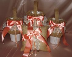 3  THREE LOVELY  BURLAP FLOWER GIRL BASKETS,1 RING PILLOW, YOUR COLOR BOWS #custommade
