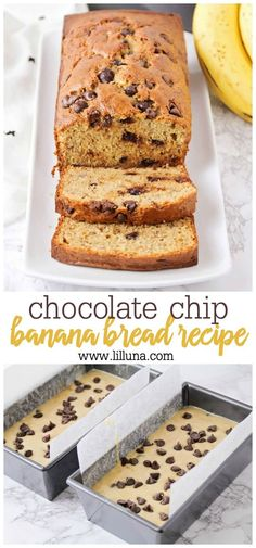 Chocolate chip banana bread is the best afternoon snack out there! Moist and chocolatey sweet bread that includes the banana   chocolate combo everyone loves. #chocolatechipbananabread #bananabread #chocolatechipbread #banana #bananabreadrecipe Chocolate Chip Banana Bread, Chocolate Chip Recipes, Chocolate Desserts, Fun Desserts, Delicious Desserts, Dessert Recipes, Delicious Chocolate, Yummy Food, Make Banana Bread