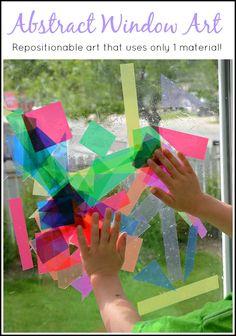 DIY abstract window art craft activity for kids. Craft Activities For Kids, Diy Crafts For Kids, Projects For Kids, Arts And Crafts, Kids Diy, Art Projects, Library Activities, Enrichment Activities, Color Activities