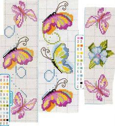 Tiny Cross Stitch, Butterfly Cross Stitch, Cross Stitch Bookmarks, Cross Stitch Books, Cross Stitch Cards, Cross Stitch Borders, Cross Stitch Flowers, Cross Stitch Designs, Cross Stitching