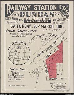 Old real estate flyer promoting Dundas NSW Real Estate Ads, Real Estate Flyers, Old Maps, Train Station, Brochures, Historical Photos, Childhood Memories, Sydney, Australia