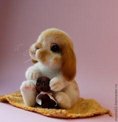 """Купить """"Пушик"""" - зайчик, игрушка ручной работы, игрушка из шерсти, игрушка заяц, войлочная игрушка"""