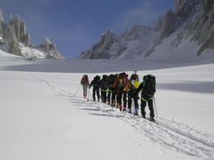 Skinning up the Col du Chardonnet on the Haute Route Ski Tour