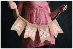 PINK AND BURLAP BABY SHOWER  |  Home Confetti  |  Lauren Carroll Photography  |  Emma banner, burlap banner, etsy banner