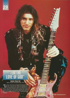 Great classic magazine pic of Steve! Guitar Girl, Cool Guitar, Joe Satriani, Guitar Magazine, Eric Johnson, Steve Vai, Best Guitarist, Eddie Van Halen, Stevie Ray Vaughan