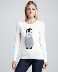 Christopher Fischer White Penguin Intarsia Cashmere Sweater