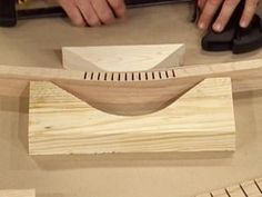 Kerfs are grooves in a piece of wood cut by a saw. Kerfing involves bending a piece of wood by making equally spaced cuts.
