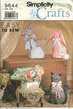 Simplicity 9644 Pig, Bunny Rabbit, Goose, Cat, Reindeer Decorative Stuffed Animals Sewing Pattern by mbchills