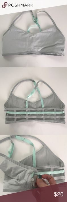 690a09b8a4c Grey white mint Barely There Lululemon Sports Bra Minimal coverage