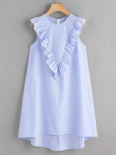 a5e022f4bf23 Zip Back Ruffle Yoke Striped Dress Afslappet Kjoler