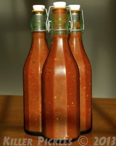 Killer Hot Sauce Makes 1 quart or liter 1T mustard seed 1 small head garlic Assorted hot peppers, about ¾lb. Brine: 2t salt dissolved in 2c ...