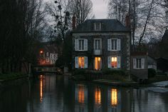 "bluepueblo: "" River House, Donzy, Burgundy, France photo via nanne """