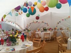 fab colourful decorations in a Capri marquee