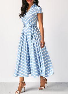 Cap Sleeve Striped V Neck Belted Dress | Rosewe.com - USD $34.88