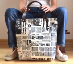 Newspaper Tote Bag. I have fabric like this and wondered what to use it for.