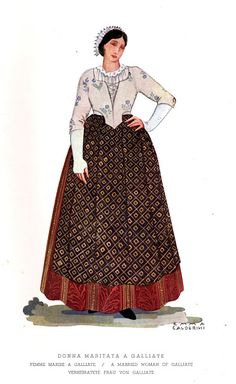 FolkCostume&Embroidery: Costume of Brianza, Italy, and Mendrisiotto, Switzerland, and La Raggiera Folk Clothing, Types Of Embroidery, Long Vests, Folk Costume, Modern Outfits, Festival Outfits, Everyday Outfits, Headdress, Traditional Outfits